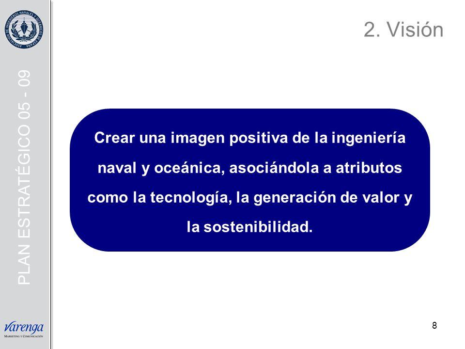 8 2. Visión Crear una imagen positiva de la ingeniería naval y oceánica, asociándola a atributos como la tecnología, la generación de valor y la soste