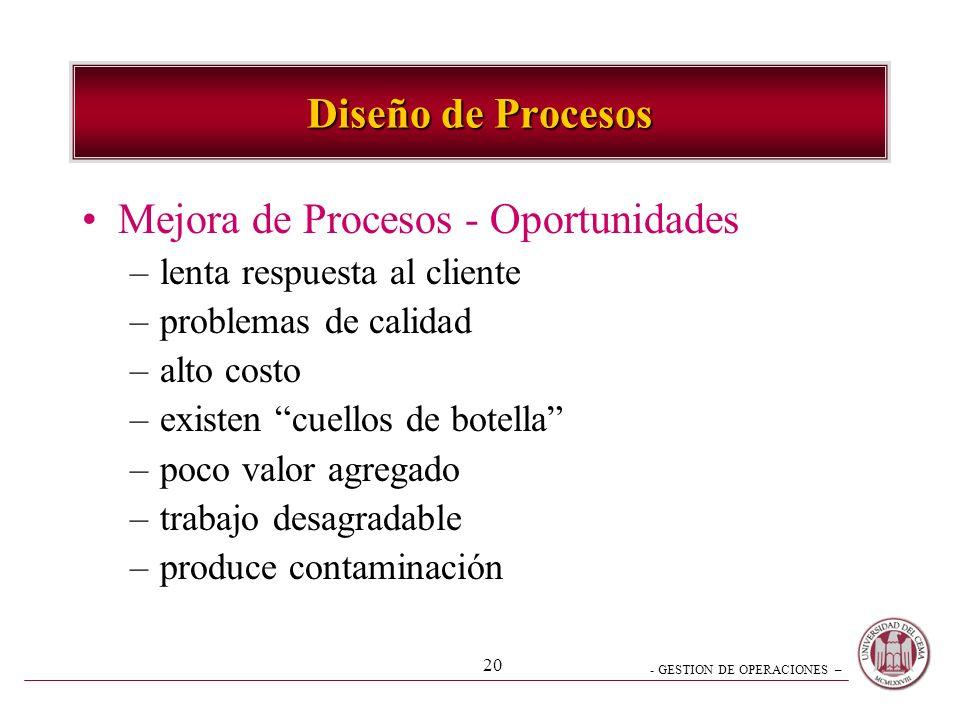 - GESTION DE OPERACIONES – 19 Diseño de Procesos Mejora de Procesos –estudio sistemático actividades y flujo a fin de mejorarlo –aprender de los númer