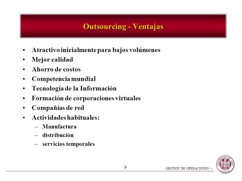 - GESTION DE OPERACIONES – 8 2.- Integración Vertical Materias Primas Procesos de la Empresa Clientes Integración hacia atrás Integración hacia adelan
