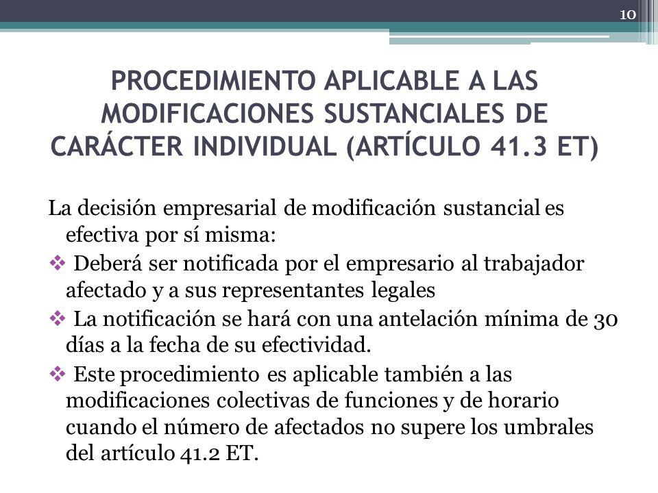 PROCEDIMIENTO APLICABLE A LAS MODIFICACIONES SUSTANCIALES DE CARÁCTER INDIVIDUAL (ARTÍCULO 41.3 ET) La decisión empresarial de modificación sustancial