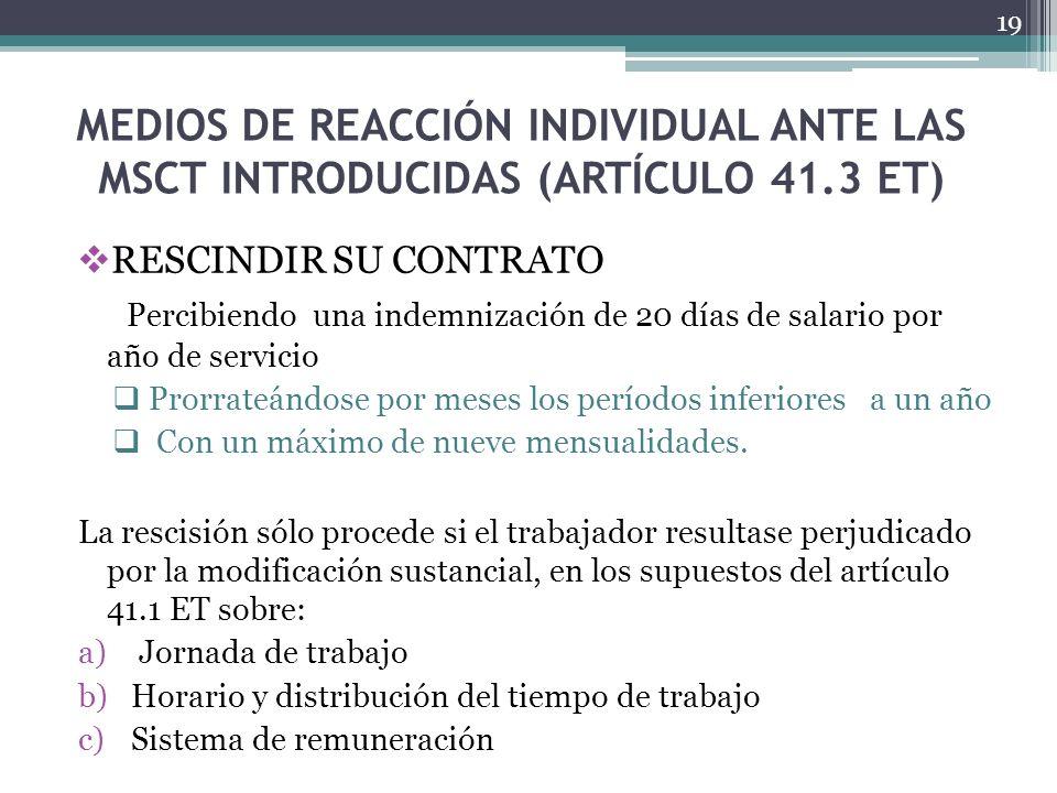 MEDIOS DE REACCIÓN INDIVIDUAL ANTE LAS MSCT INTRODUCIDAS (ARTÍCULO 41.3 ET) RESCINDIR SU CONTRATO Percibiendo una indemnización de 20 días de salario