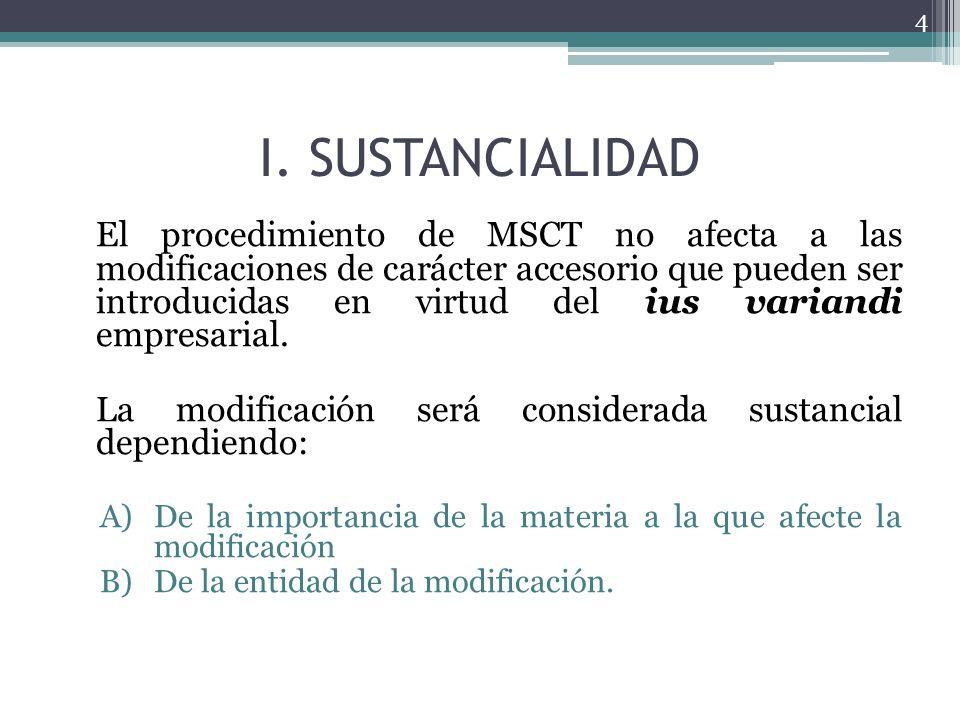 I. SUSTANCIALIDAD El procedimiento de MSCT no afecta a las modificaciones de carácter accesorio que pueden ser introducidas en virtud del ius variandi
