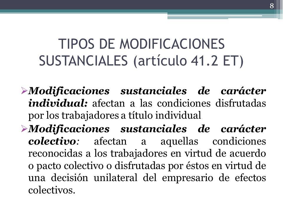 TIPOS DE MODIFICACIONES SUSTANCIALES (artículo 41.2 ET) Modificaciones sustanciales de carácter individual: afectan a las condiciones disfrutadas por