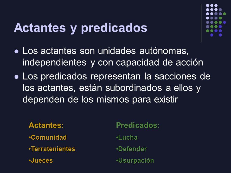 Actantes y predicados Los actantes son unidades autónomas, independientes y con capacidad de acción Los predicados representan la sacciones de los act