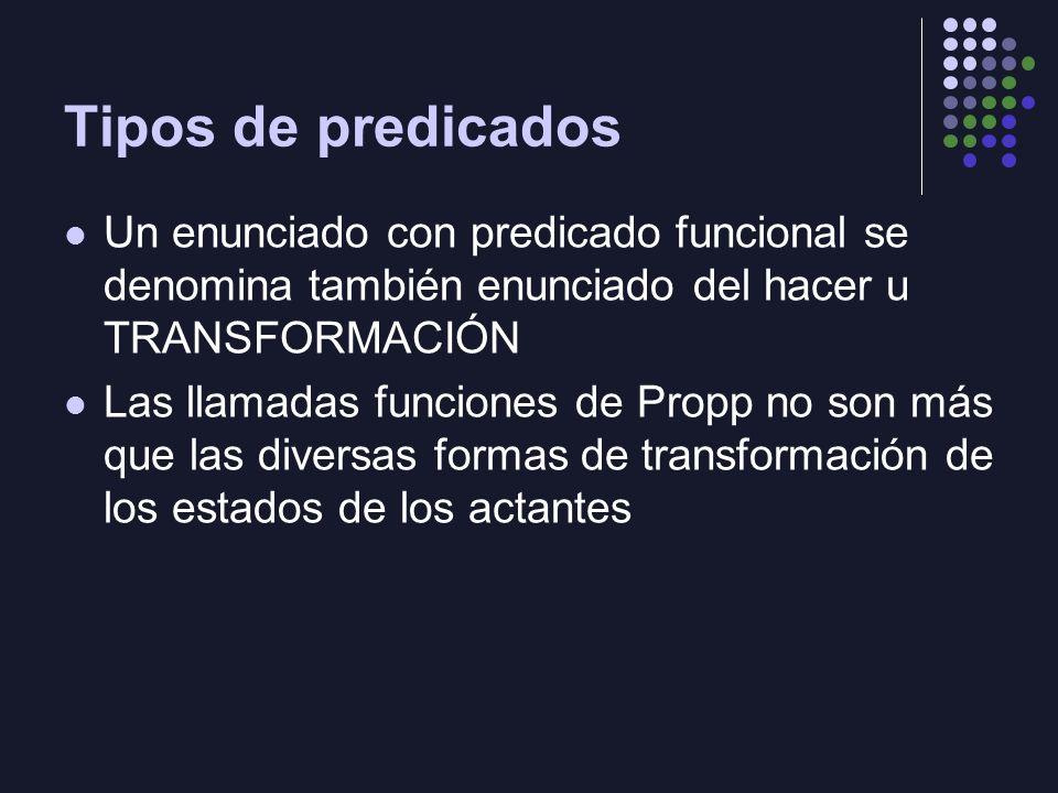 Tipos de predicados Un enunciado con predicado funcional se denomina también enunciado del hacer u TRANSFORMACIÓN Las llamadas funciones de Propp no s