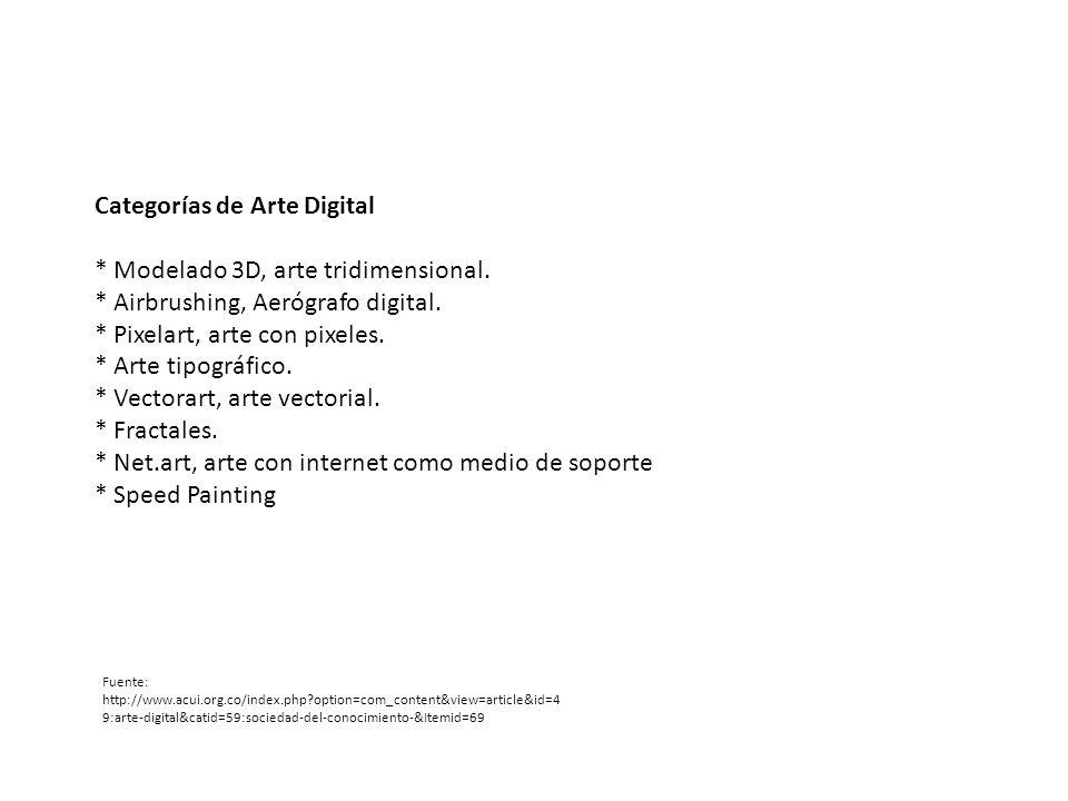 Categorías de Arte Digital * Modelado 3D, arte tridimensional.