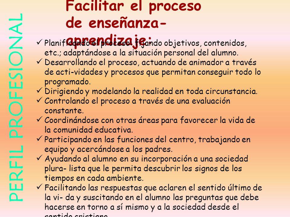 Facilitar el proceso de enseñanza- aprendizaje: Planificando el proceso: fijando objetivos, contenidos, etc.; adaptándose a la situación personal del