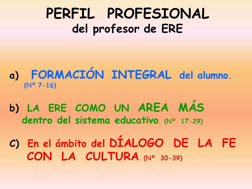PERFIL PROFESIONAL del profesor de ERE a) FORMACIÓN INTEGRAL del alumno. (Nº 7-16) b) LA ERE COMO UN AREA MÁS dentro del sistema educativo. (Nº 17-29)