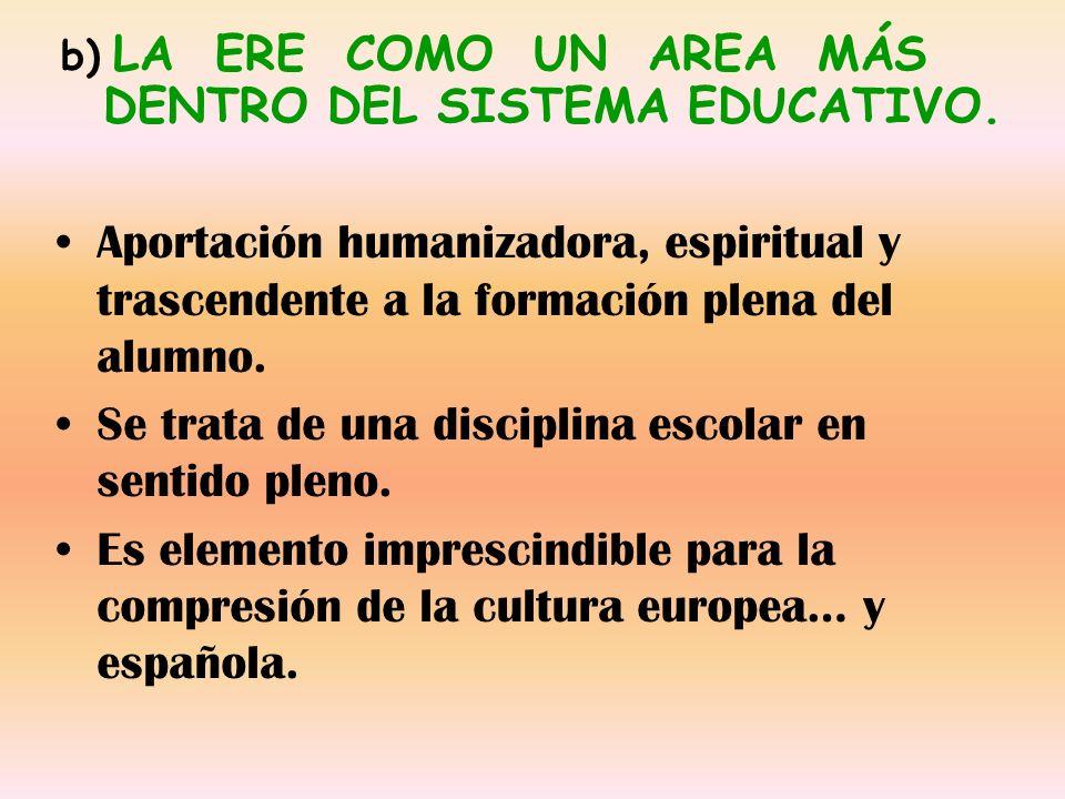 Aportación humanizadora, espiritual y trascendente a la formación plena del alumno. Se trata de una disciplina escolar en sentido pleno. Es elemento i