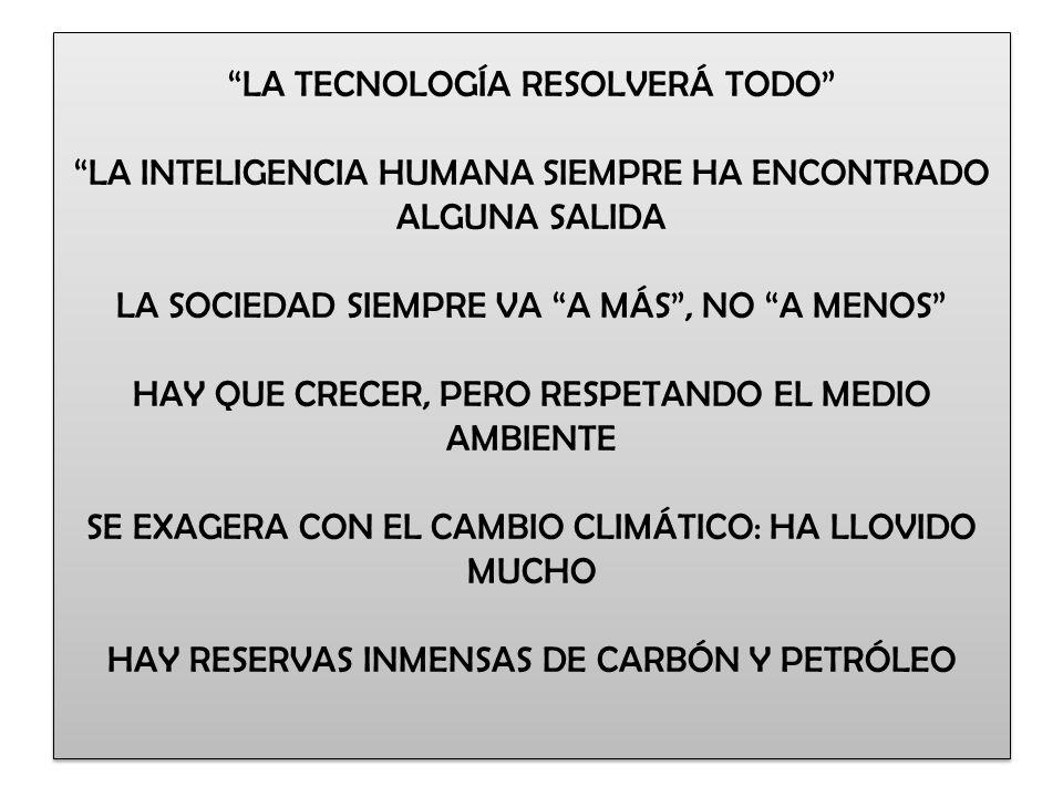 LA TECNOLOGÍA RESOLVERÁ TODO LA INTELIGENCIA HUMANA SIEMPRE HA ENCONTRADO ALGUNA SALIDA LA SOCIEDAD SIEMPRE VA A MÁS, NO A MENOS HAY QUE CRECER, PERO
