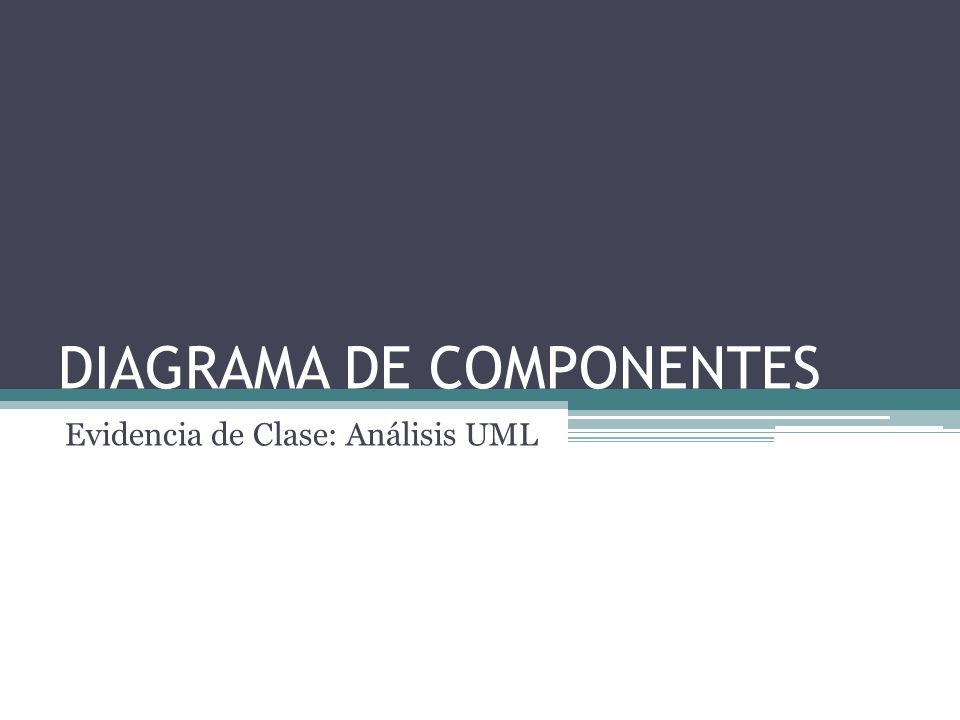 DIAGRAMA DE COMPONENTES Evidencia de Clase: Análisis UML