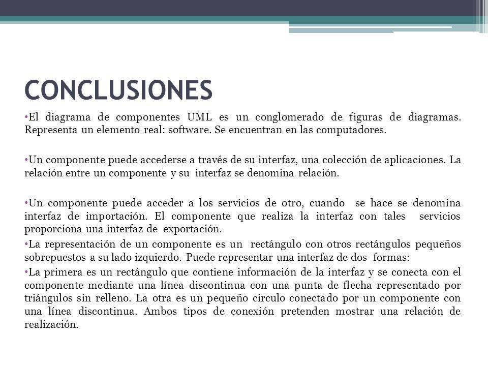 CONCLUSIONES El diagrama de componentes UML es un conglomerado de figuras de diagramas. Representa un elemento real: software. Se encuentran en las co
