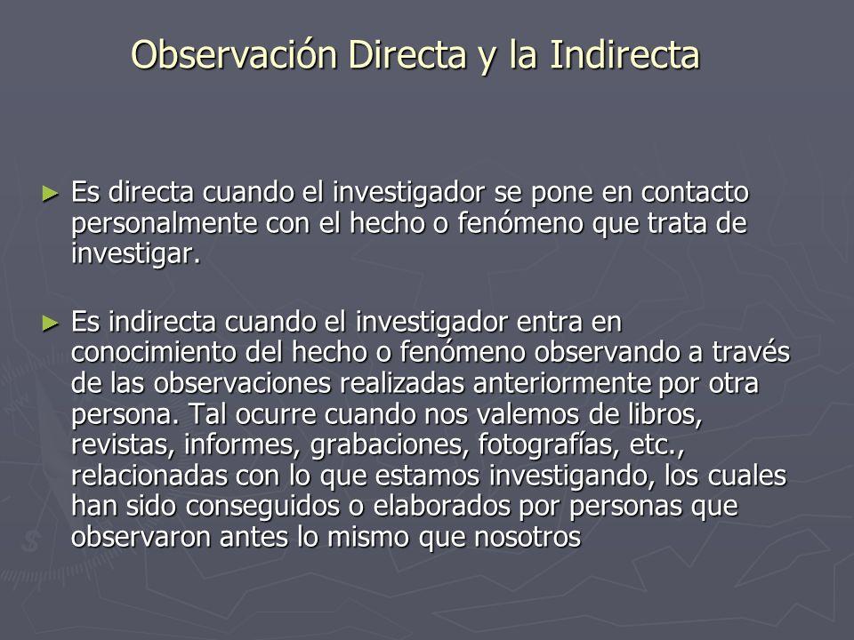 Observación Directa y la Indirecta Es directa cuando el investigador se pone en contacto personalmente con el hecho o fenómeno que trata de investigar