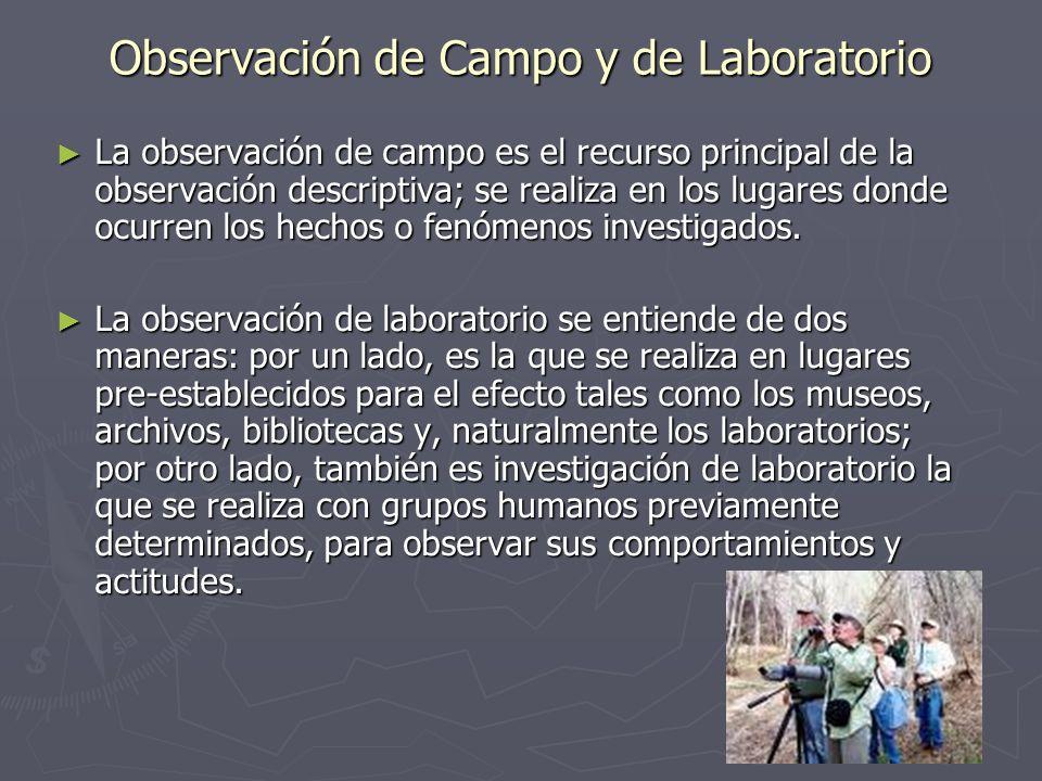 Observación de Campo y de Laboratorio La observación de campo es el recurso principal de la observación descriptiva; se realiza en los lugares donde o