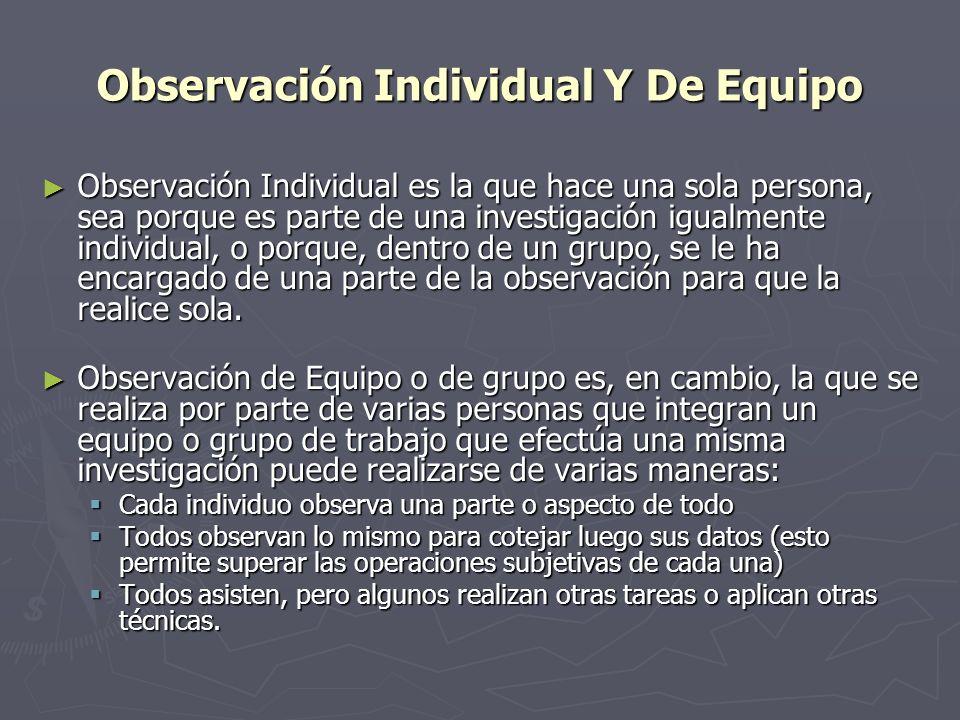 Observación Individual Y De Equipo Observación Individual es la que hace una sola persona, sea porque es parte de una investigación igualmente individ