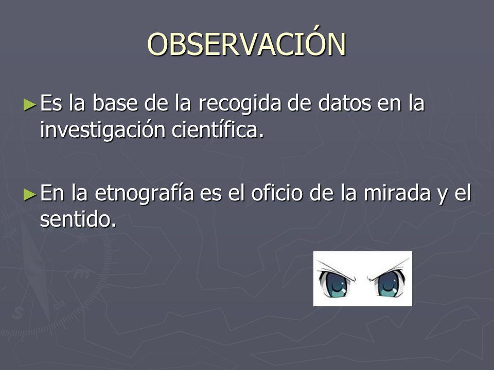 OBSERVACIÓN Es la base de la recogida de datos en la investigación científica. Es la base de la recogida de datos en la investigación científica. En l