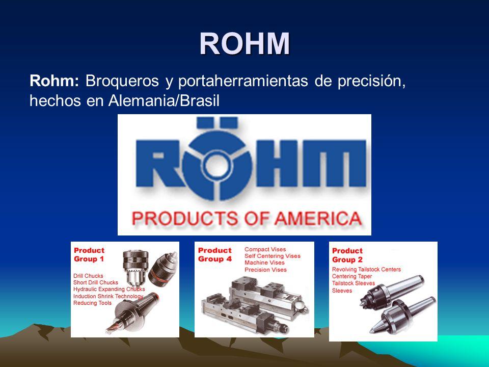 ROHM Rohm: Broqueros y portaherramientas de precisión, hechos en Alemania/Brasil