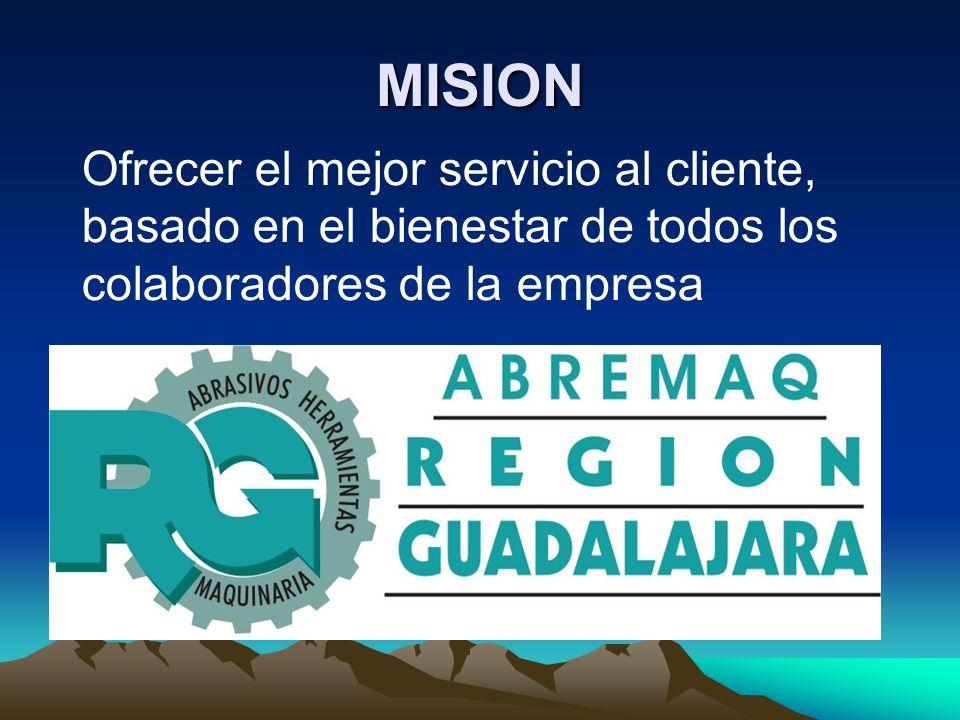 MISION Ofrecer el mejor servicio al cliente, basado en el bienestar de todos los colaboradores de la empresa