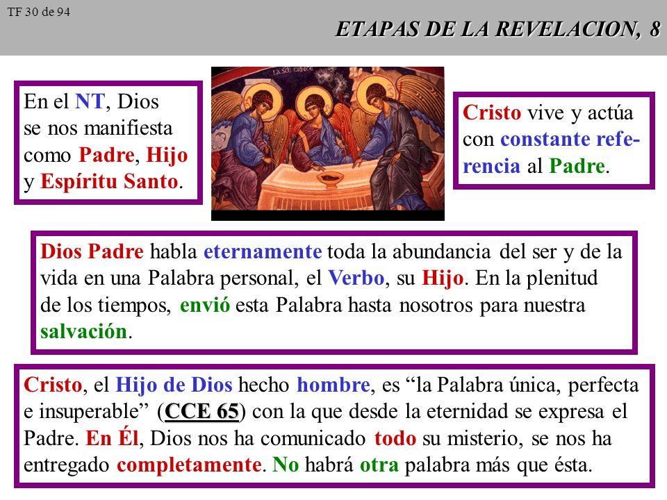 ETAPAS DE LA REVELACION, 7 Jesucristo habló de Dios de un modo enteramente único. La relación de Jesús con el Padre es distinta de la que mantene- mos
