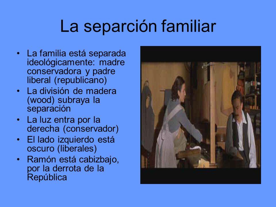 La separción familiar La familia está separada ideológicamente: madre conservadora y padre liberal (republicano) La división de madera (wood) subraya