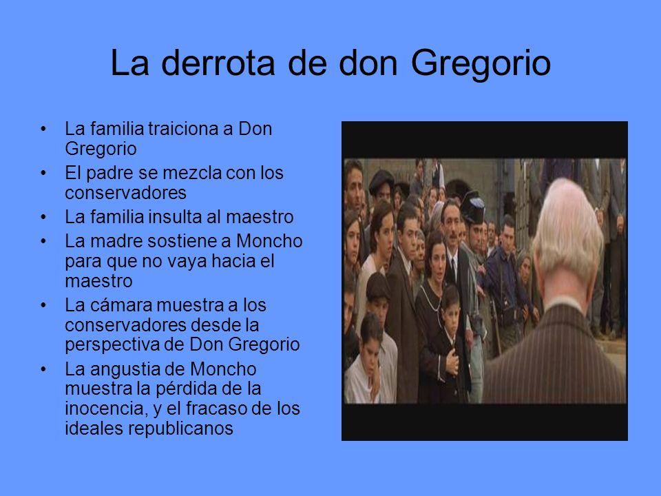 La derrota de don Gregorio La familia traiciona a Don Gregorio El padre se mezcla con los conservadores La familia insulta al maestro La madre sostien
