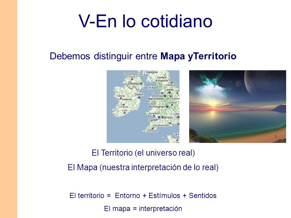 Debemos distinguir entre Mapa yTerritorio El Territorio (el universo real) El Mapa (nuestra interpretación de lo real) El territorio = Entorno + Estím