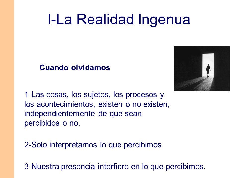 1-Lo Real Lo existente (lo percibamos o no) 2-Percepción depende de entorno y del sujeto (Sentidos-Cerebro) 3-La Realidad La interpretación de lo existente.