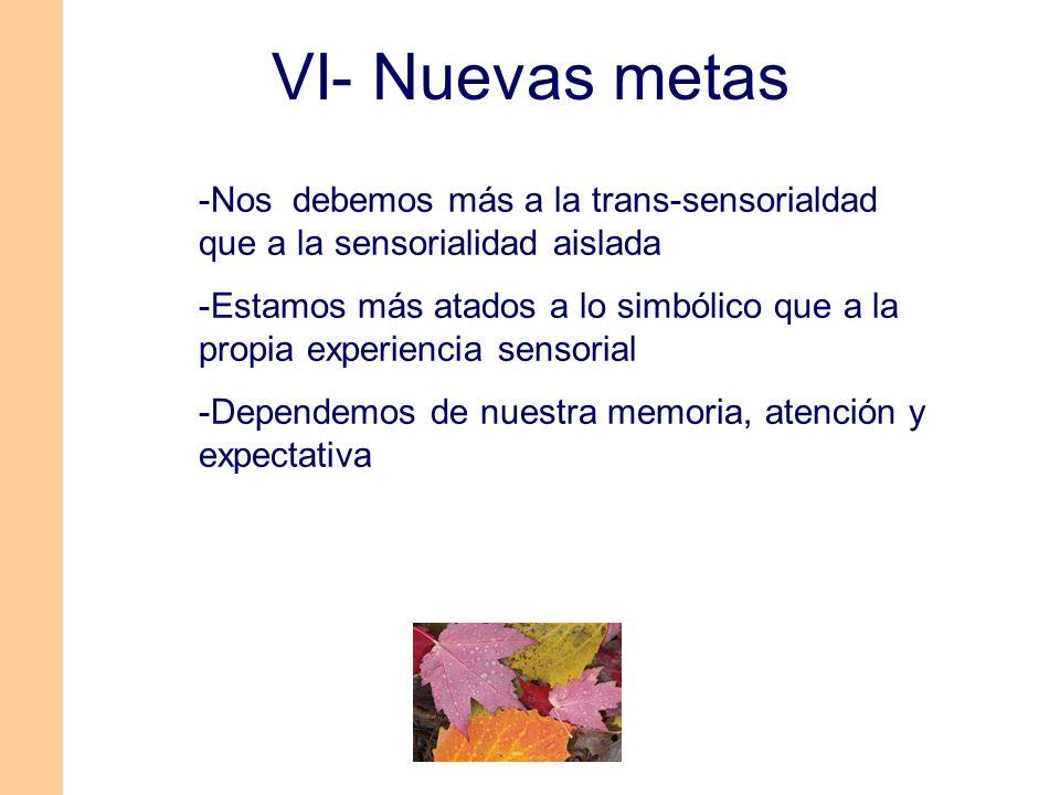 -Nos debemos más a la trans-sensorialdad que a la sensorialidad aislada -Estamos más atados a lo simbólico que a la propia experiencia sensorial -Depe