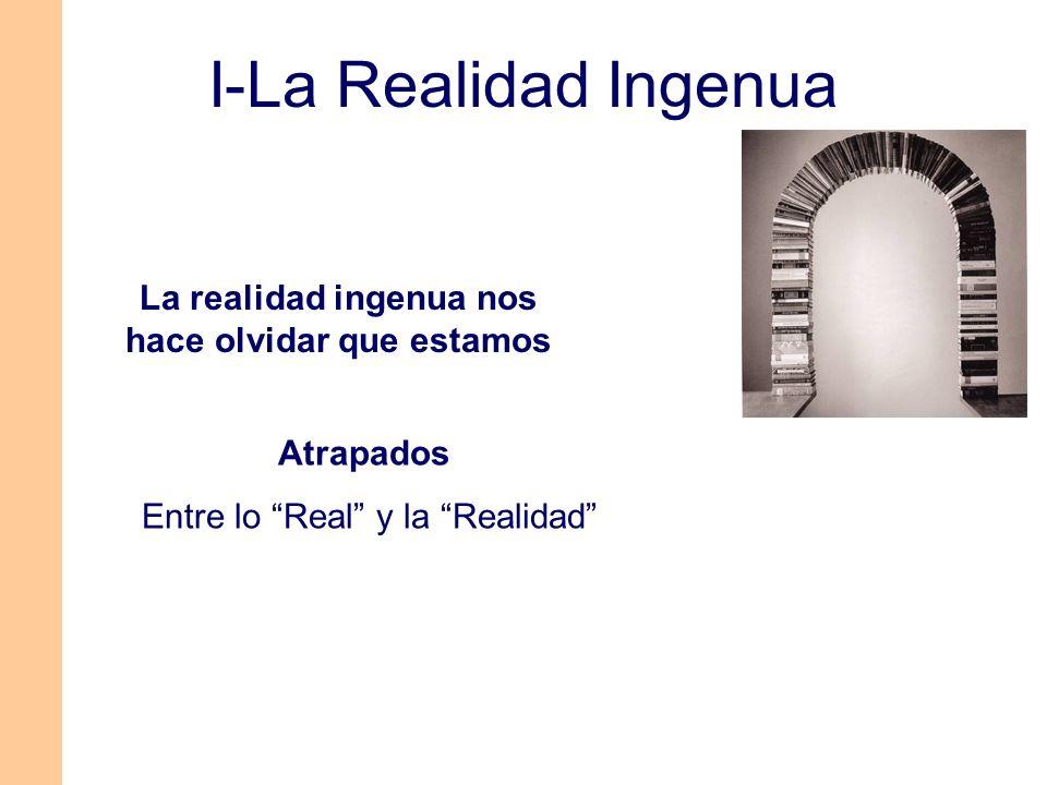 Integrados (Formamos parte de lo real y de la realidad que sustentamos) 1-Por las percepciones (en busca de ellas) 2-Con las percepciones (al lado de ellas) 3-En las percepciones (dentro de ellas) La realidad ingenua nos hace olvidar que estamos I-La Realidad Ingenua