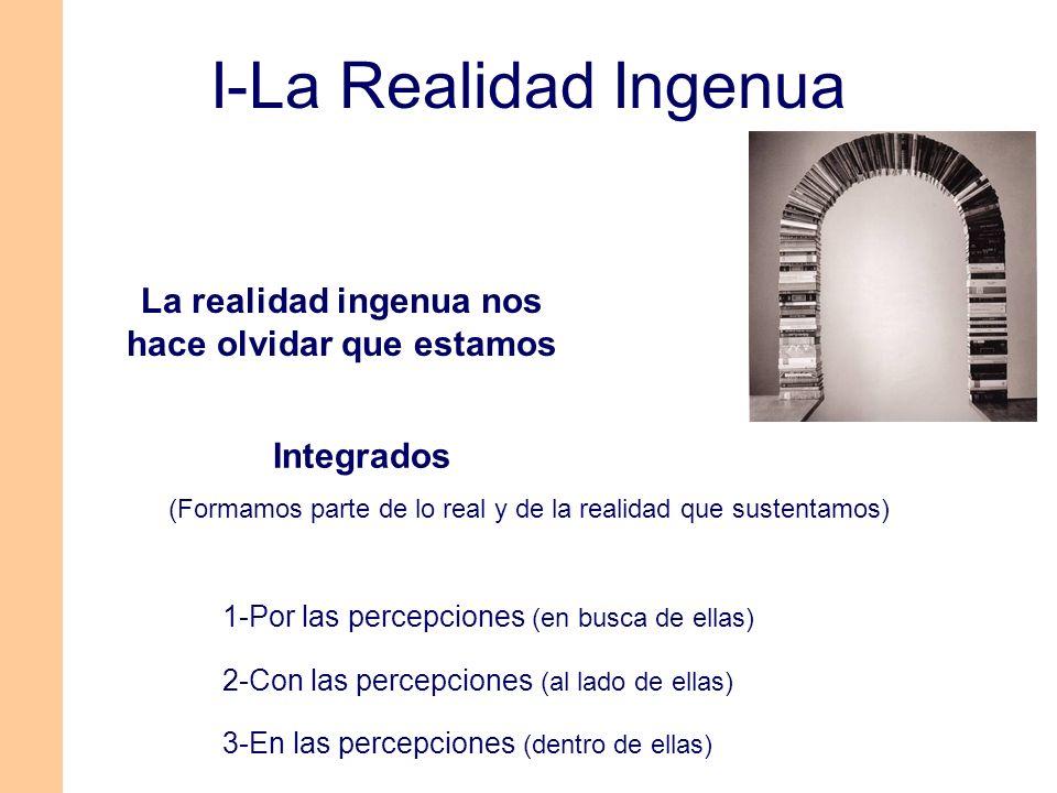 Integrados (Formamos parte de lo real y de la realidad que sustentamos) 1-Por las percepciones (en busca de ellas) 2-Con las percepciones (al lado de