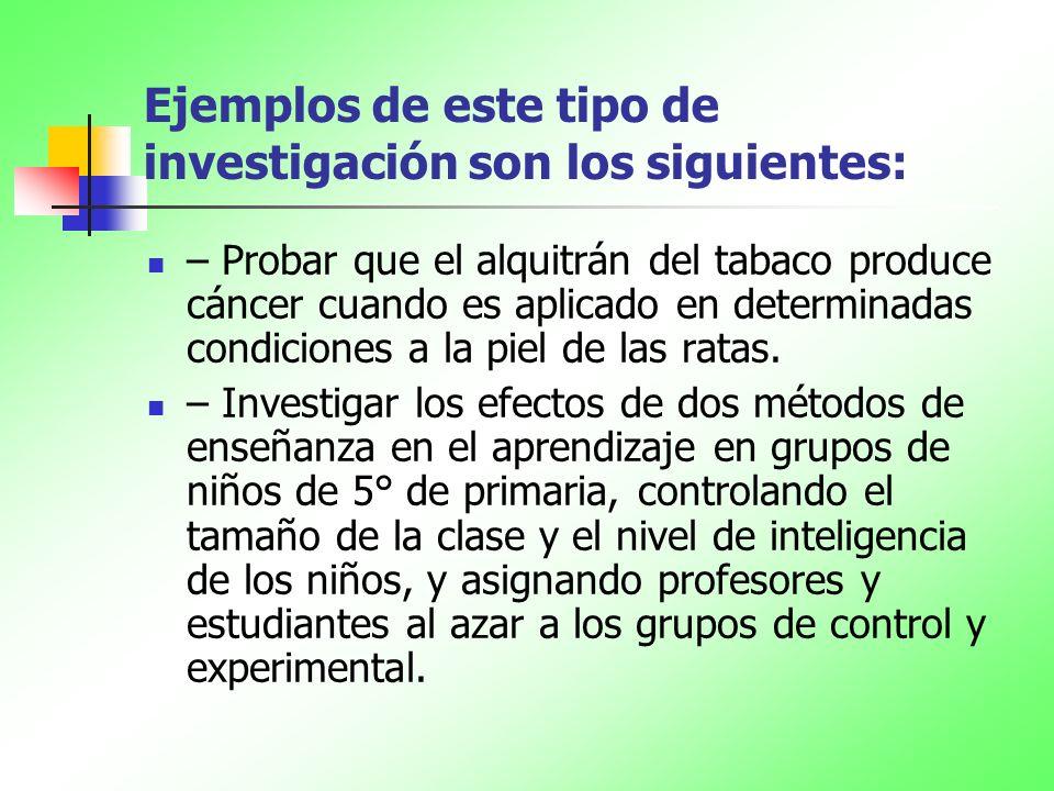 Ejemplos de este tipo de investigación son los siguientes: – Probar que el alquitrán del tabaco produce cáncer cuando es aplicado en determinadas cond