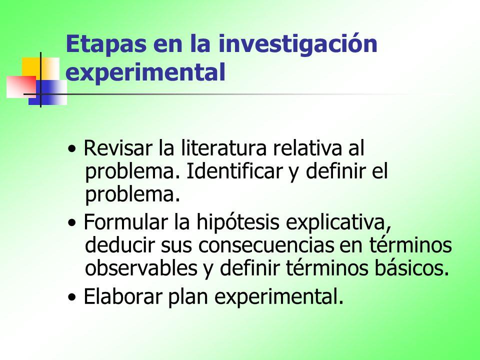 Etapas en la investigación experimental Revisar la literatura relativa al problema. Identificar y definir el problema. Formular la hipótesis explicati