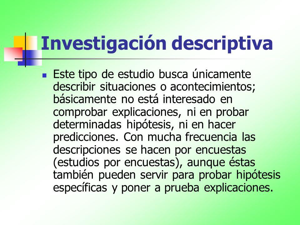 Investigación descriptiva Este tipo de estudio busca únicamente describir situaciones o acontecimientos; básicamente no está interesado en comprobar e