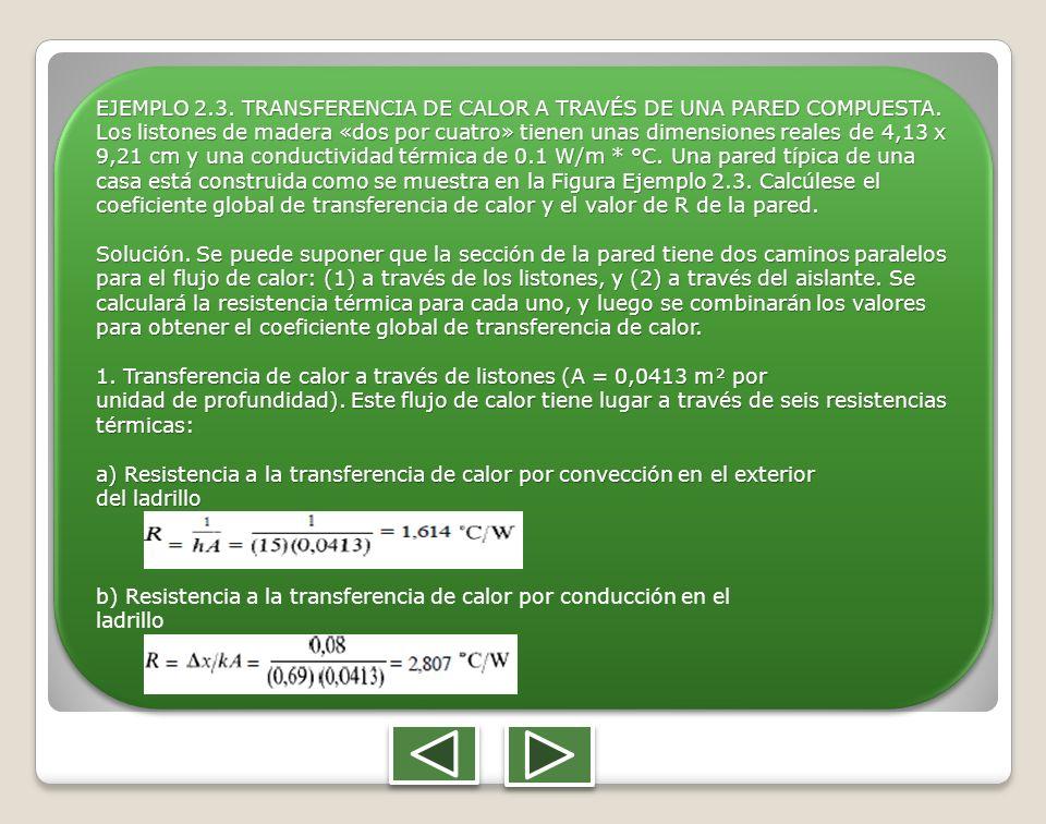 EJEMPLO 2.3. TRANSFERENCIA DE CALOR A TRAVÉS DE UNA PARED COMPUESTA. Los listones de madera «dos por cuatro» tienen unas dimensiones reales de 4,13 x