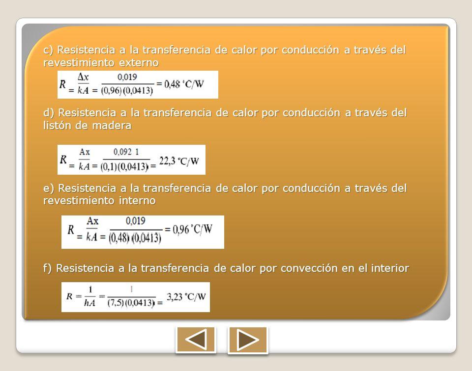 c) Resistencia a la transferencia de calor por conducción a través del revestimiento externo d) Resistencia a la transferencia de calor por conducción