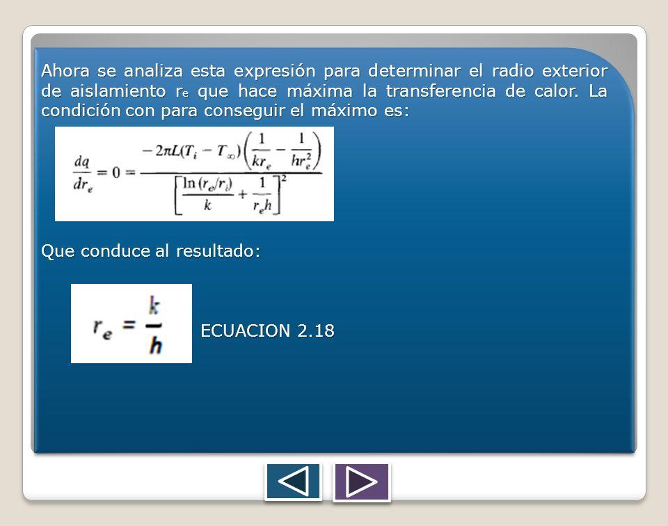 Ahora se analiza esta expresión para determinar el radio exterior de aislamiento r e que hace máxima la transferencia de calor. La condición con para