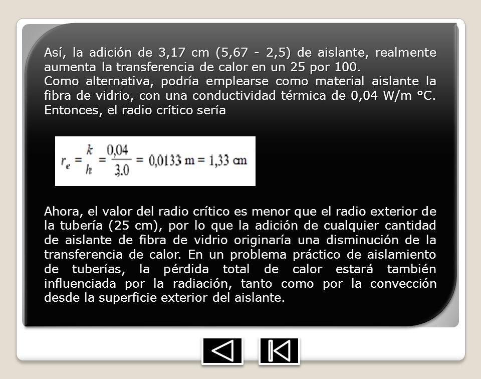 Así, la adición de 3,17 cm (5,67 - 2,5) de aislante, realmente aumenta la transferencia de calor en un 25 por 100. Como alternativa, podría emplearse