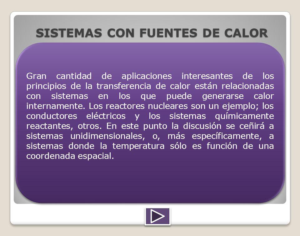 SISTEMAS CON FUENTES DE CALOR Gran cantidad de aplicaciones interesantes de los principios de la transferencia de calor están relacionadas con sistema