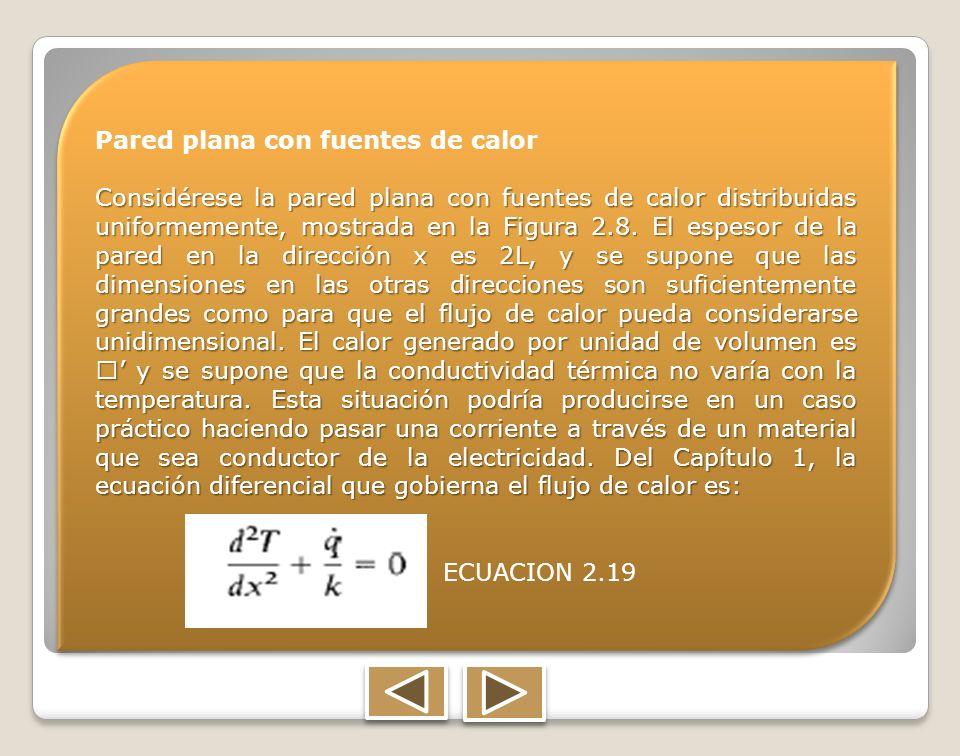 Pared plana con fuentes de calor Considérese la pared plana con fuentes de calor distribuidas uniformemente, mostrada en la Figura 2.8. El espesor de