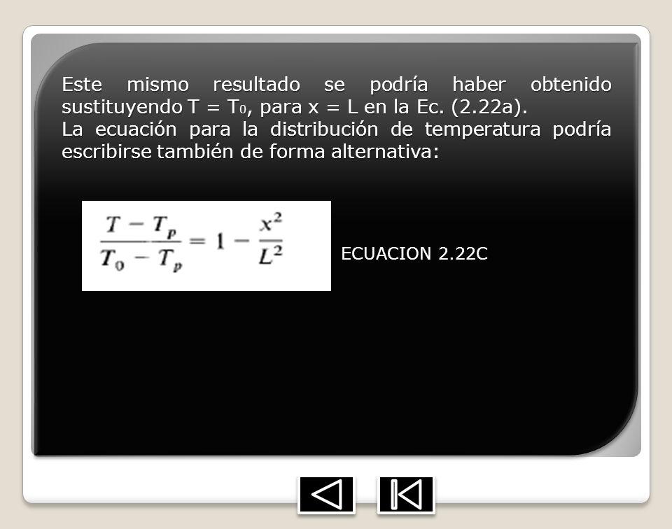 Este mismo resultado se podría haber obtenido sustituyendo T = T 0, para x = L en la Ec. (2.22a). La ecuación para la distribución de temperatura podr
