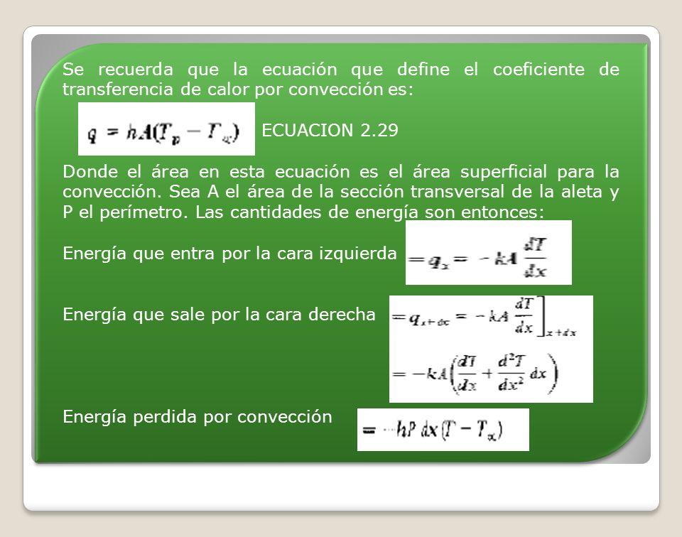 Se recuerda que la ecuación que define el coeficiente de transferencia de calor por convección es: ECUACION 2.29 Donde el área en esta ecuación es el