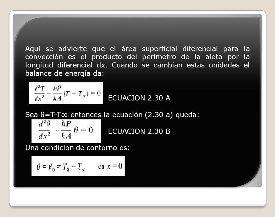 Aquí se advierte que el área superficial diferencial para la convección es el producto del perímetro de la aleta por la longitud diferencial dx. Cuand