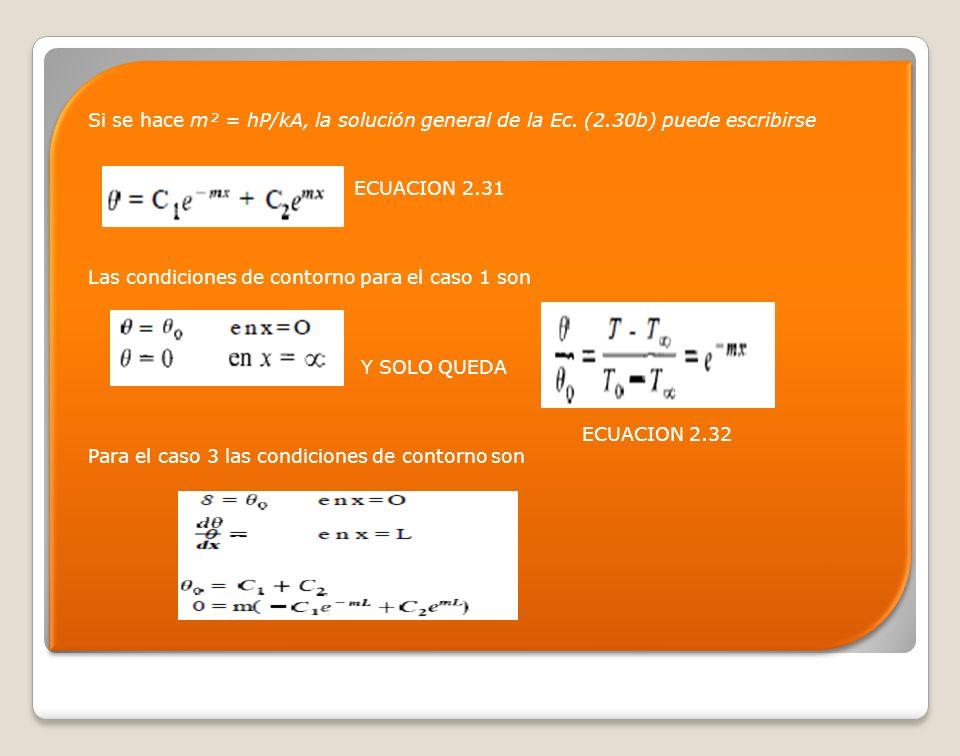 Si se hace m² = hP/kA, la solución general de la Ec. (2.30b) puede escribirse ECUACION 2.31 Las condiciones de contorno para el caso 1 son Y SOLO QUED