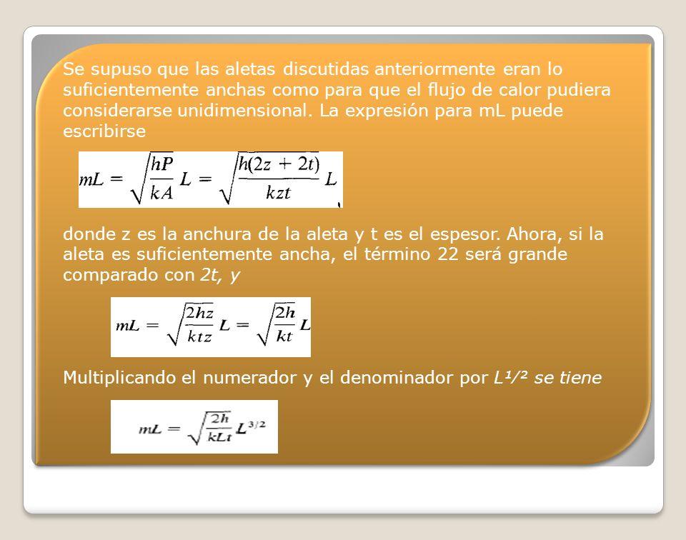 Se supuso que las aletas discutidas anteriormente eran lo suficientemente anchas como para que el flujo de calor pudiera considerarse unidimensional.