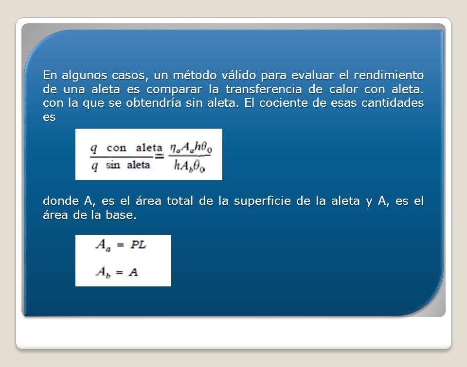 En algunos casos, un método válido para evaluar el rendimiento de una aleta es comparar la transferencia de calor con aleta. con la que se obtendría s