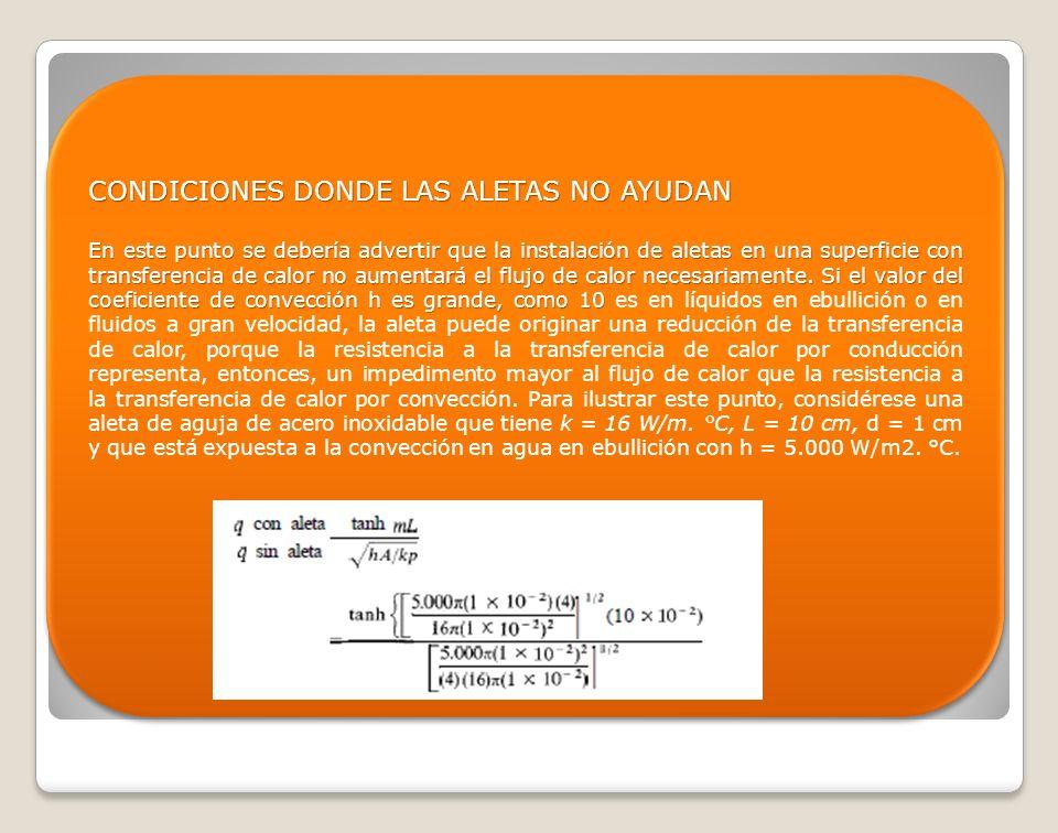 CONDICIONES DONDE LAS ALETAS NO AYUDAN En este punto se debería advertir que la instalación de aletas en una superficie con transferencia de calor no