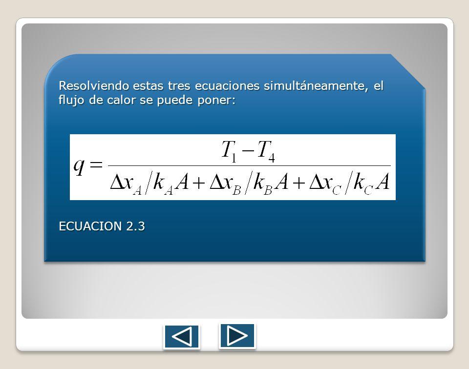 Resolviendo estas tres ecuaciones simultáneamente, el flujo de calor se puede poner: ECUACION 2.3 Resolviendo estas tres ecuaciones simultáneamente, e