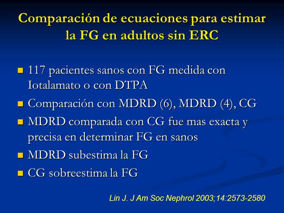 Comparación de ecuaciones para estimar la FG en adultos sin ERC 117 pacientes sanos con FG medida con Iotalamato o con DTPA 117 pacientes sanos con FG