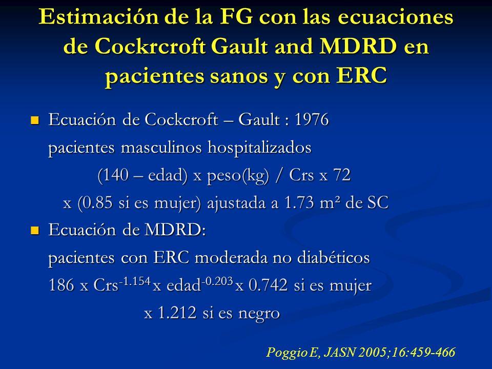 Ecuación de Cockcroft – Gault : 1976 Ecuación de Cockcroft – Gault : 1976 pacientes masculinos hospitalizados (140 – edad) x peso(kg) / Crs x 72 (140