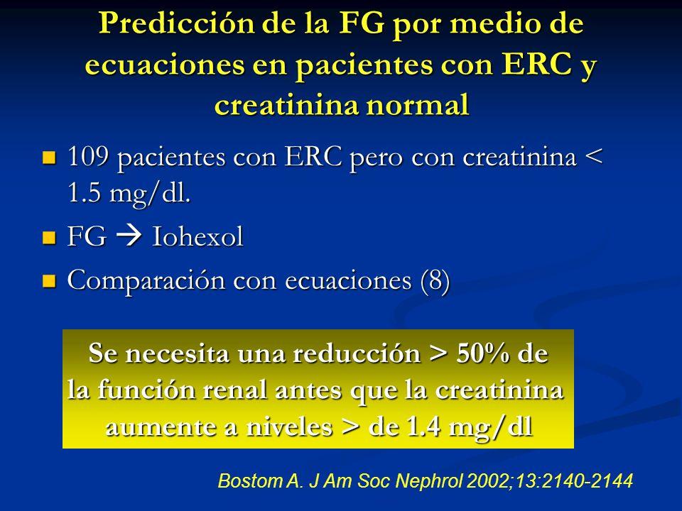 Predicción de la FG por medio de ecuaciones en pacientes con ERC y creatinina normal 109 pacientes con ERC pero con creatinina < 1.5 mg/dl. 109 pacien